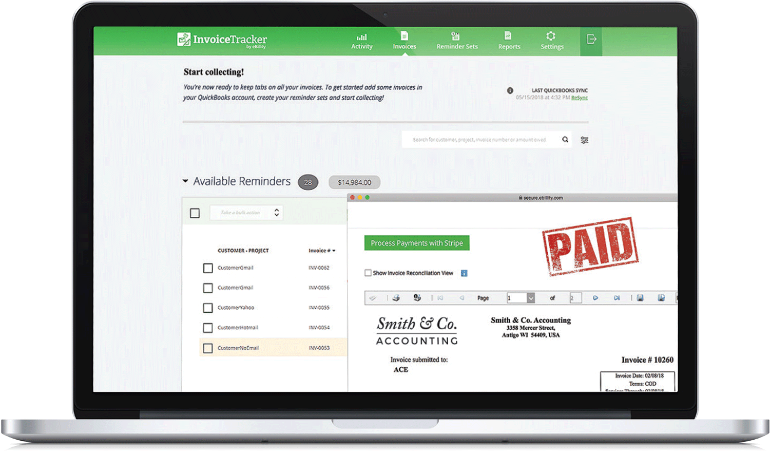 Invoice Tracker By EBillity Automated Invoice Reminders - Quickbooks invoice reminders